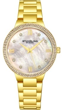 Stuhrling Original Women's Gold-Tone Case and Bracelet, White Mop Dial Watch