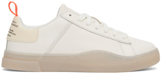 Diesel White and Orange S-Clever Low Sneakers