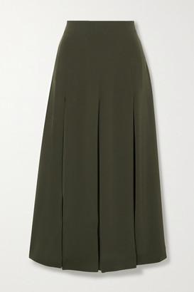 Co Pleated Crepe Midi Skirt - Dark green