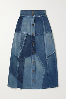 Saint Laurent Patchwork Denim Midi Skirt - Blue