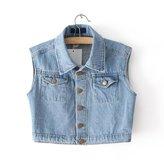 Escalier Women Vintage Jackets Jeans Denim Vest Waistcoat Cardigan (S)
