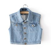 Escalier Women Vintage Jackets Jeans Denim Vest Waistcoat Cardigan (XS)