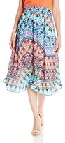 NY Collection Women's Printed Knee Length Handkerchief Hem Skirt with Pleats AT Front Waist