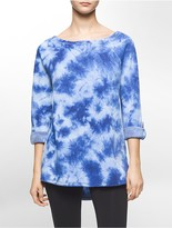 Calvin Klein Performance Tie Dye Roll-Up Sleeve Fleece Sweatshirt