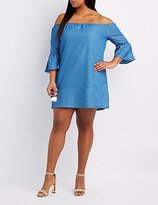 Charlotte Russe Plus Size Chambray Off-The-Shoulder Dress