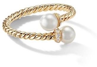 David Yurman Petite Solari Bypass Ring with Cultured Pearl & Diamonds in 18K Yellow Gold