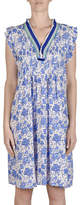 Jump Sleeveless Frayed Trim Printed Dress