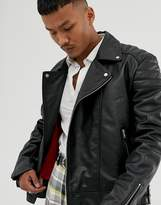 Asos Design ASOS DESIGN leather biker jacket in black with red lining