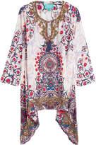 TAJ Printed Silk Tunic with Beading