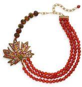 Heidi Daus Maple Leaf Beaded Three-Row Leaf Pendant Necklace/Goldtone