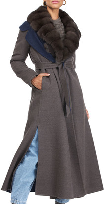 Gorski Wool and Cashmere Belted Coat with Sable Collar