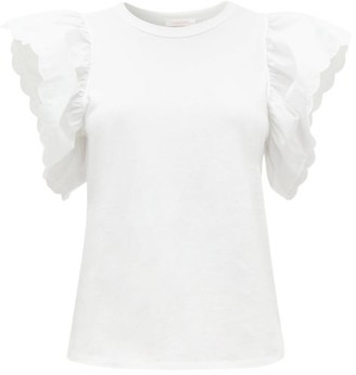 See by Chloe Scalloped-sleeve Cotton-jersey T-shirt - Womens - White
