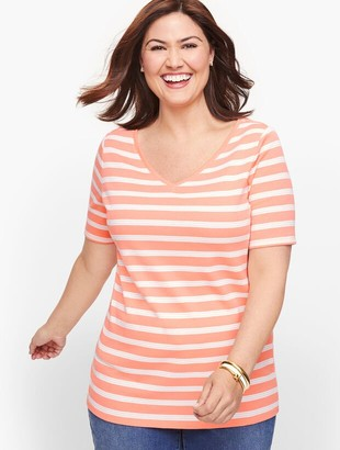 Talbots Cotton V-Neck Tee - Lunada Stripe