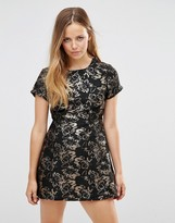 Motel Cheeky Dress In Flower Jacquard