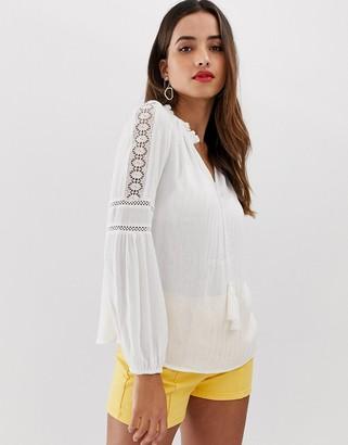 Morgan prairie blouson sleeve blouse with tie cuff detail in white