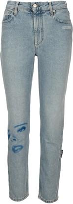 Off-White Face Print Straight-Leg Jeans