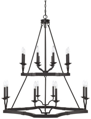 Capital Lighting Ravenwood 16-Light 2-Tier Chandelier Black Iron