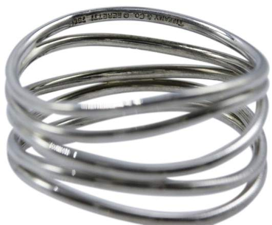 Tiffany & Co. Elsa Peretti 18K White Gold Row Wave Ring Size 6.5