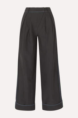 Andersson Bell - Daria Pleated Pinstriped Twill Wide-leg Pants - Black