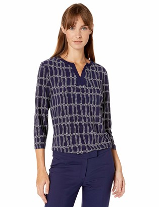 Anne Klein Women's 3/4 Sleeve Knit Split Neck Tunic