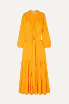 Melissa Odabash Sonja Belted Crepe De Chine Maxi Dress - Saffron