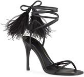 Valentino Garavani 100mm Ostrich Feather Ankle-Wrap Stiletto Sandals
