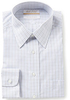 Roundtree & Yorke Gold Label Non-Iron Regular Full-Fit Point-Collar Grid Check Dress Shirt