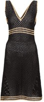My Beachy Side - Kalali V-neck Crochet Midi Dress - Womens - Black Gold