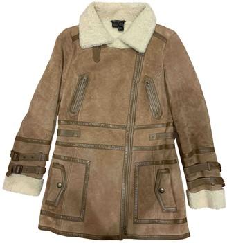 MANGO Camel Shearling Coat for Women