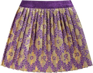 Gucci Gold Skirt For Baby Girl With Double Gg