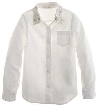 J.Crew Girls' jeweled-collar pocket shirt
