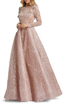 Mac Duggal 6-Week Shipping Lead Time Embellished Long-Sleeve Floral Lace A-Line Gown