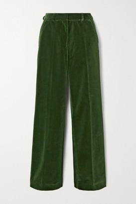 Officine Generale Celeste Cotton-velvet Straight-leg Pants - Dark green