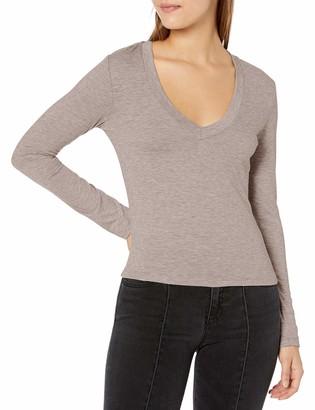 Tresics Women's Trendy Basic Junior Deep V-Neck Long Sleeve Cropped Top