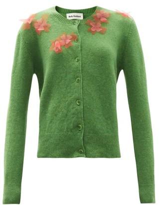 Molly Goddard Aileen Flower-applique Wool Cardigan - Green