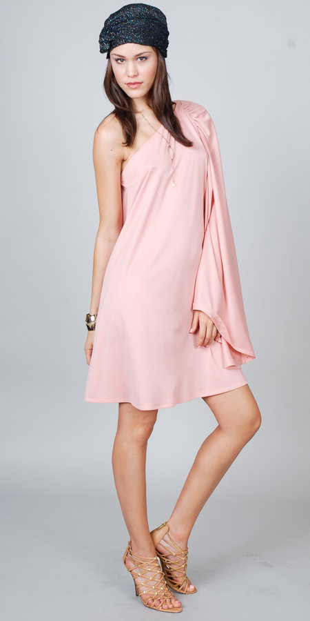 eDressMe One Shoulder Peach Cocktail Dress