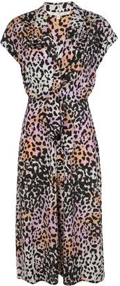 Veronica Beard Leopard Print Midi Dress
