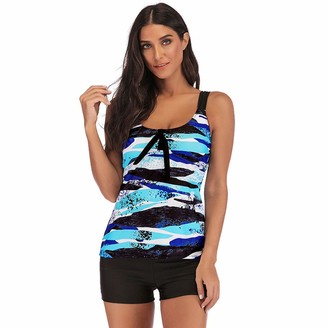 Kanpola Tops Women Plus Size Gradient Tankini Swimjupmsuit Swimsuit Beachwear Padded Swimwear Kanpola 2020 Blue