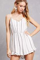 Forever 21 Embroidered Stripe Romper