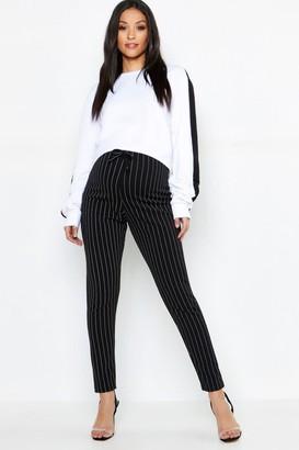 boohoo Maternity Pinstripe Drawstring Tapered Trouser