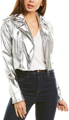 Jakett Erin Metallic Leather Jacket