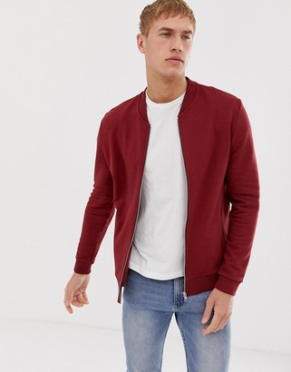 Asos Design DESIGN bomber jersey jacket in burgundy-Red