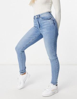 JDY Jona high waisted skinny jean in light blue denim