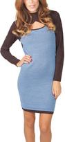 Yuka Paris Brown & Blue Cutout Sweater Dress