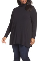 Sejour Plus Size Women's Swing Turtleneck Tunic