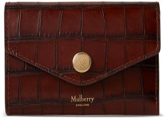 Mulberry Folded Multi-Card Wallet Cognac Brown Vintage Croc Print