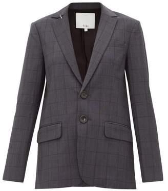 Tibi Windowpane Check Wool Blend Blazer - Womens - Dark Grey