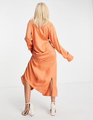Monki Diana ecovero wrap shirt dress in rust