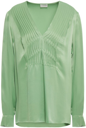By Malene Birger Pintucked Satin-crepe Blouse