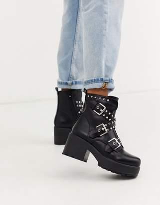 Koi Footwear Koi vegan studded chunky ankle boots in black